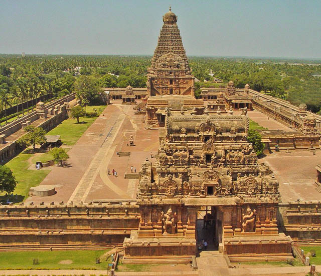temple arena aerial view in Thanjavur city tamil nadu