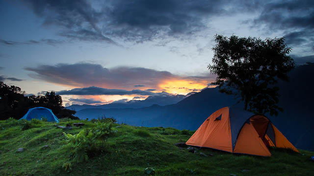 beautiful sunset from tents in Yuksom town, Sikkim