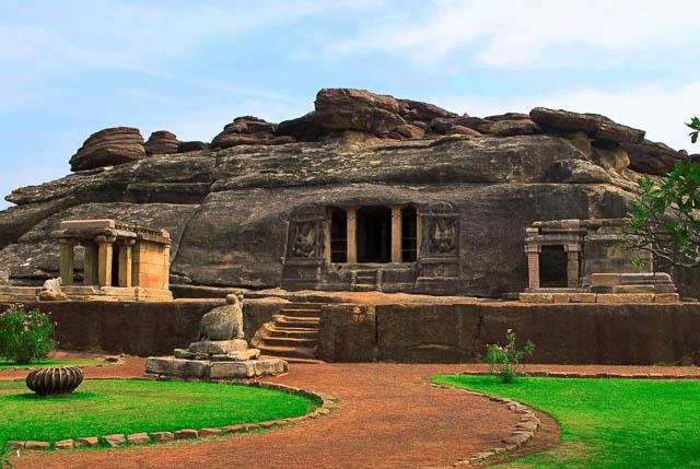 Front view of Ravanaphadi rock-cut temple in Aihole, Karnataka.