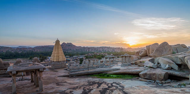 view over Hampi temple at sunrise