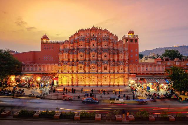 Sunset at Hawa Mahal, Palace of Winds, Jaipur, Rajasthan