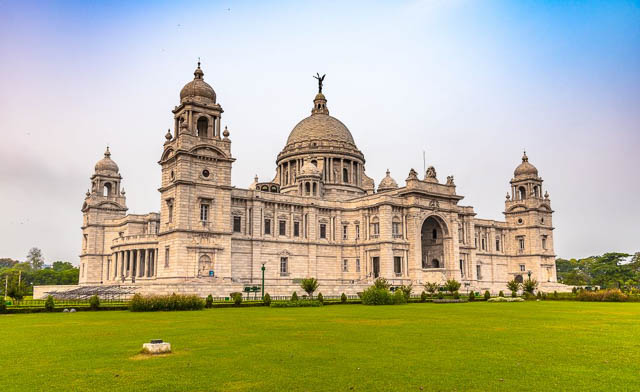 side view of Victoria Memorial with beautiful garden in Kolkata, West Bengal