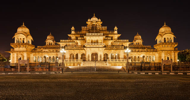 albert hall central museum at night in jaipur, rajasthan