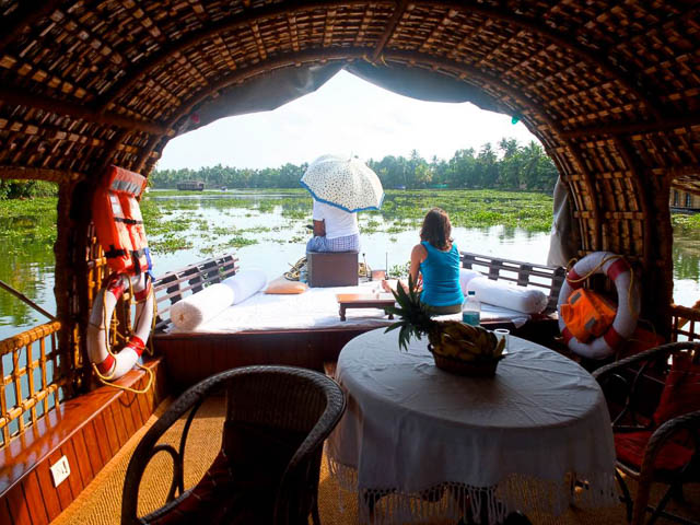 inside of a houseboat in kumarakom backwaters in kerala