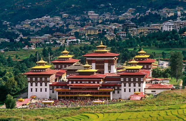 tashichhoe dzong in thimphu, bhutan