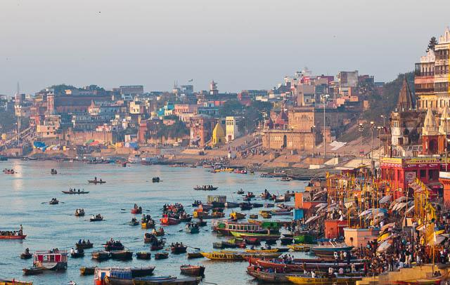 ganges river and varanasi ghats in early morning, uttar pradesh