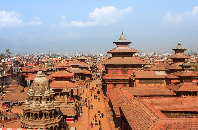 blue sky over durbar square in kathmandu