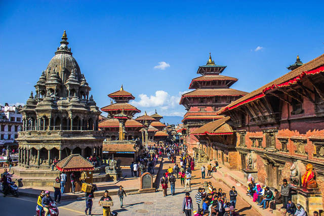 blue sky over durbar square in patan, nepal