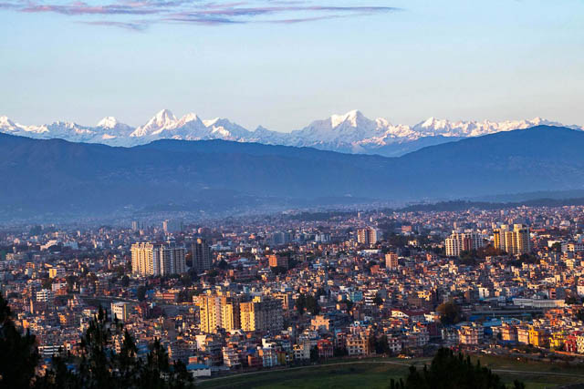 himalayas can be seen on a clean day in kathmandu, nepal