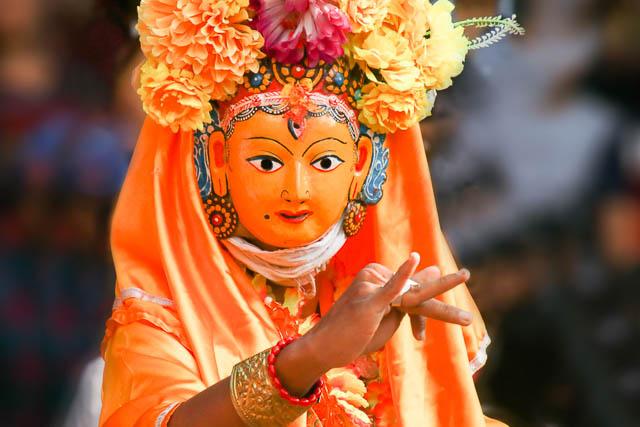 ancient lhakhe mask dance in patan durbar square, patan, nepal
