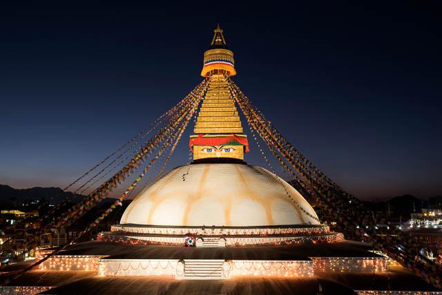 boudhnath stupa at night in kathmandu, nepal