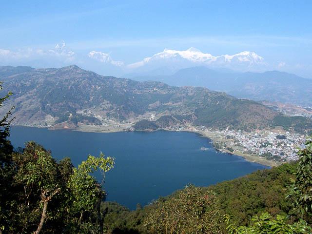 himalayas can be seen from pokhara lake, nepal