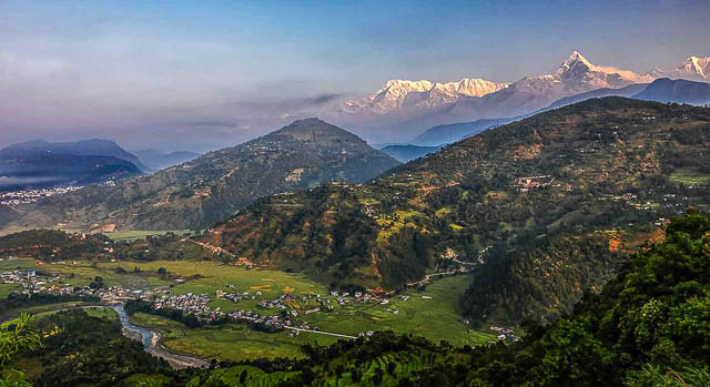 annapurna range behind tiger mountain in pokhara, nepal