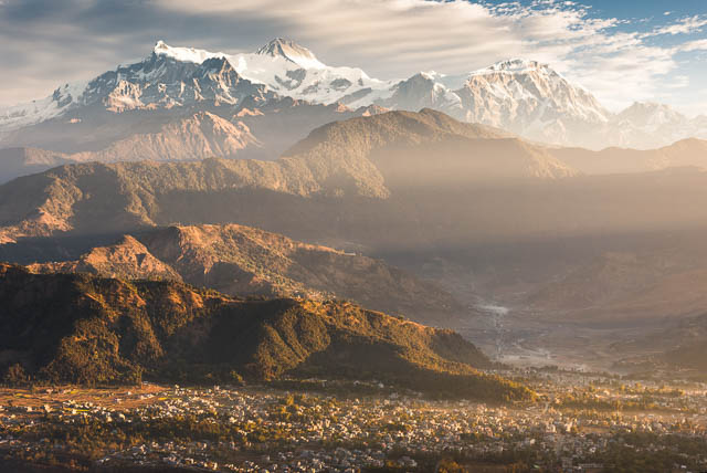 himalayas range on sunrise from sarangkot, nepal