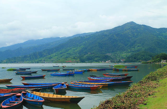boats lining up on phewa lake in pokhara, nepal