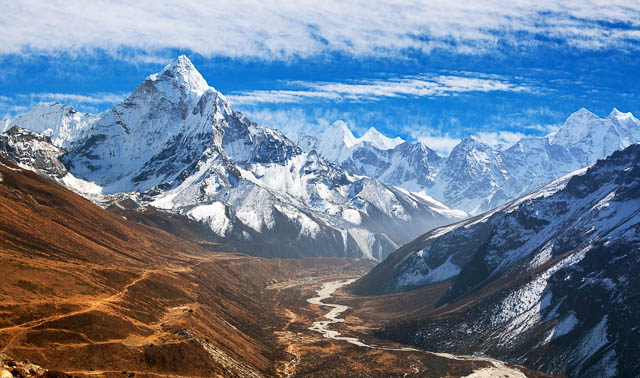 beautiful view of mount ama dablam with beautiful sky on the way to everest base camp, everest area, nepal
