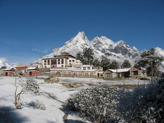 mount everest behind tengboche monastery at base of mount ama dablam, nepal