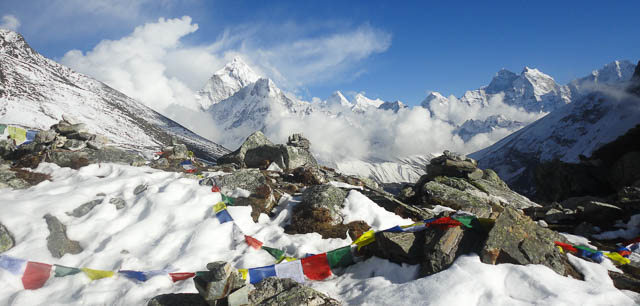 clouds near snowy everest base camp