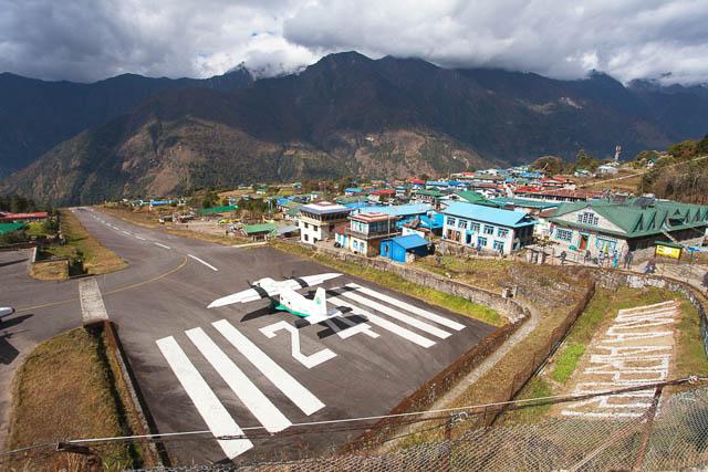view of lukla village and airport, khumbu valley, solukhumbu, everest area, nepal himalayas