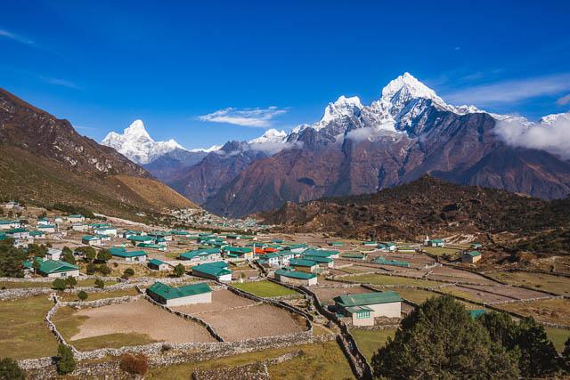 landscape of khunde village, nepal