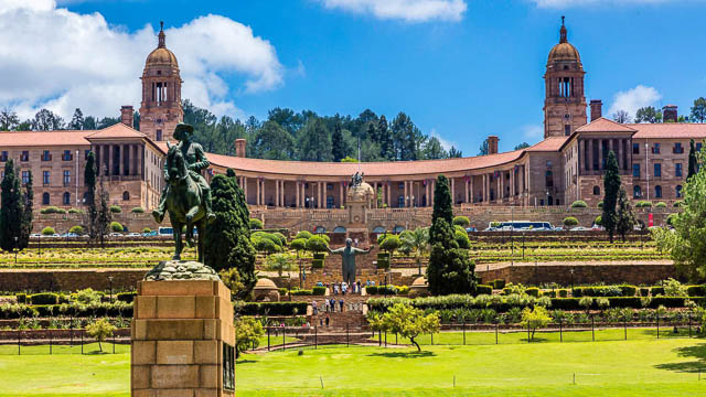 beautiful garden in front of union buildings of pretoria, south africa