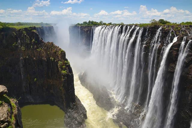 scenic view of victoria falls on zambezi river, south africa