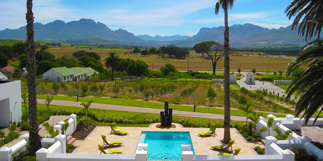 front view from a resort in stellenbosch town, south africa
