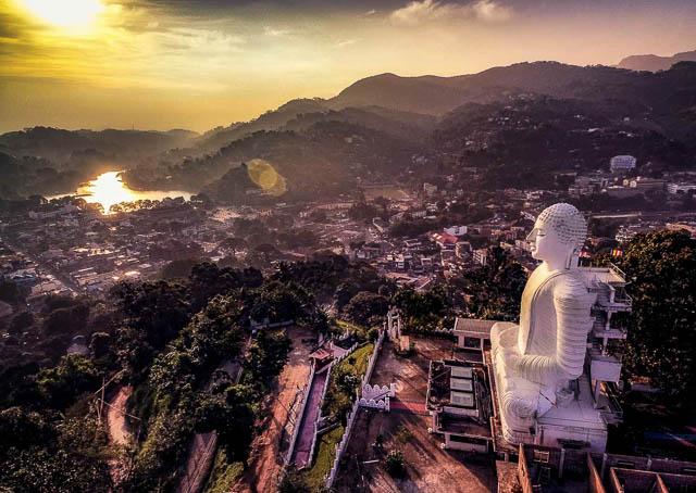 aerial view of bahirawakanda vihara buddha statue in kandy, sri lanka