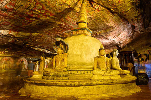 buddha statues inside dambulla cave temple, dambulla, sri lanka
