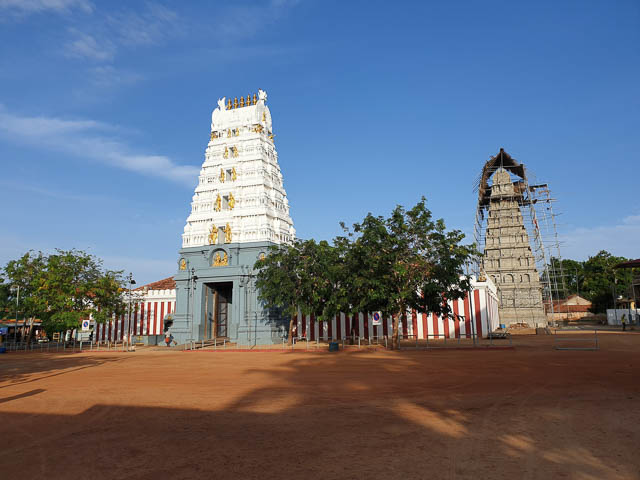 clear blue sky over munneswaram devasthanam temple in chilaw, sri lanka