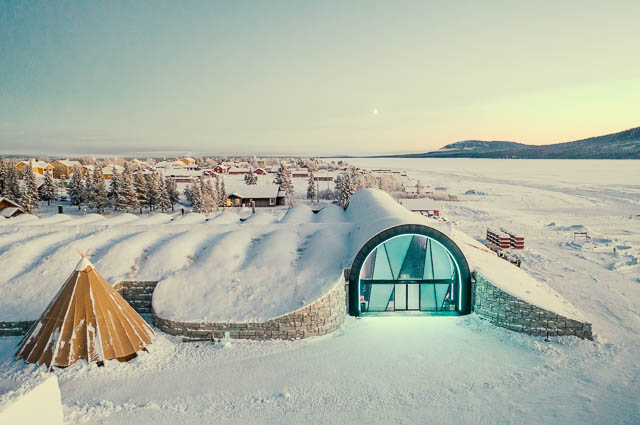 transparent gate in fully snow covered icehotel in jukkasjärvi, sweden