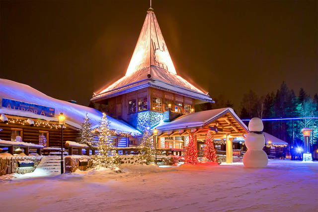 colorful lights on santa claus office in santa claus village rovaniemi, finland