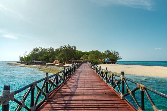 wooden pier on prison island on indian ocean near zanzibar island, tanzania