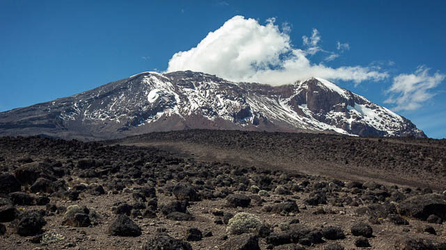 clear sky by mount kilimanjaro on machame route, tanzania