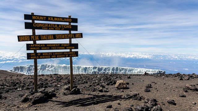 clear blue sky in front of uhuru peak on mount kilimanjaro, tanzania