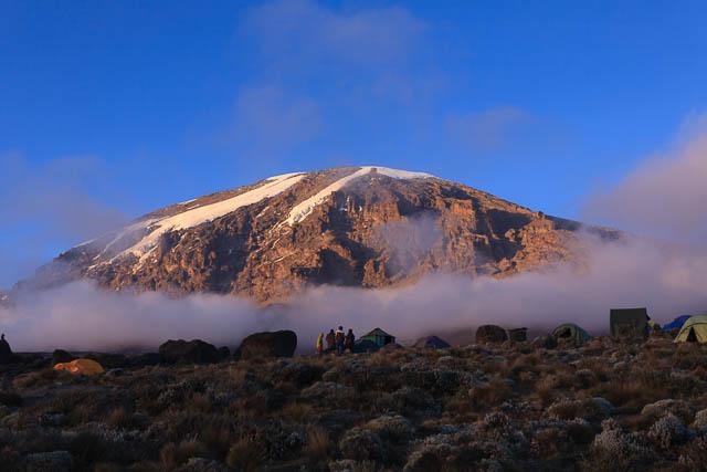 glacier view of mount kilimanjaro taken from the karanga camp on machame route, tanzania