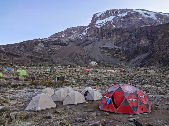 camping tents on barranco camp on lemosho route on mount kilimanjaro, tanzania