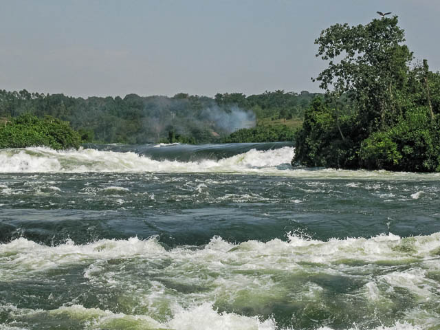 view on victoria nile river rapids in jinja, uganda