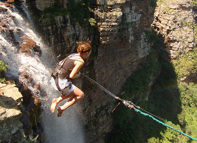 female tourist on gorge swing over victoria falls