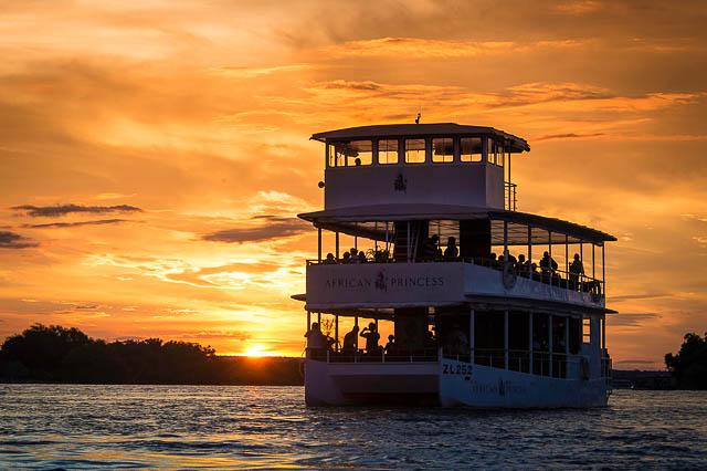 sundowner cruise on african princess on zambezi river
