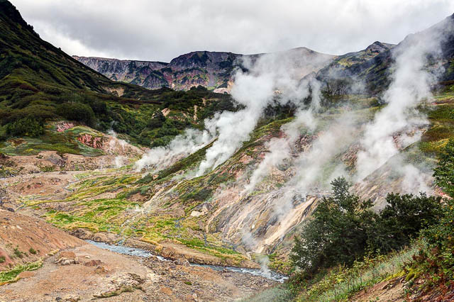 steam erupts from the valley of geysers on kamchatka peninsula, russia