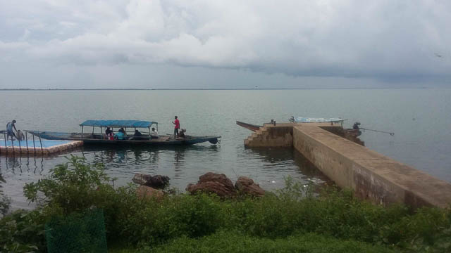 small bridge on saltwater chilika lake in puri, orissa