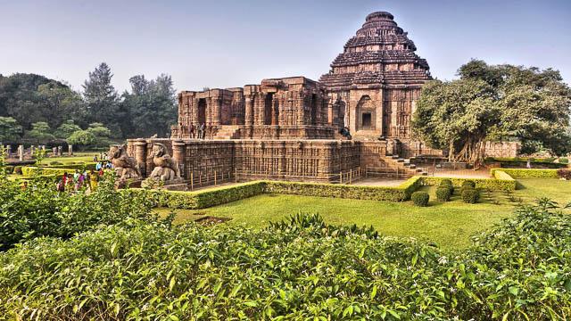 large and beautiful garden surrounding the konark sun temple in konark, odisha