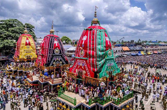 people flocking over for jagannath rath yatra in puri, odisha