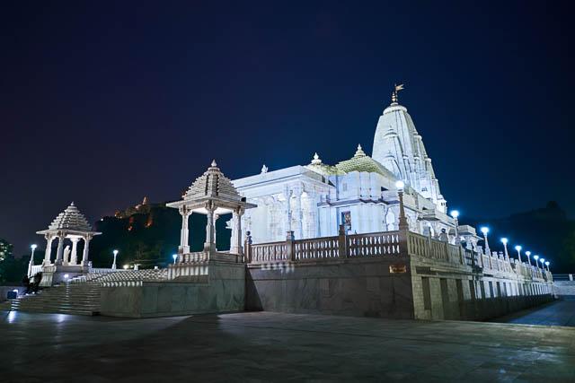 lights lit up at the hindu temple birla mandir in jaipur, rajasthan