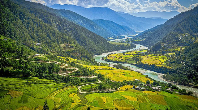 farm lands in paro valley bhutan