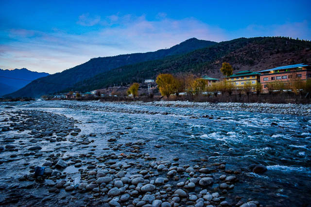 river flowing in paro bhutan