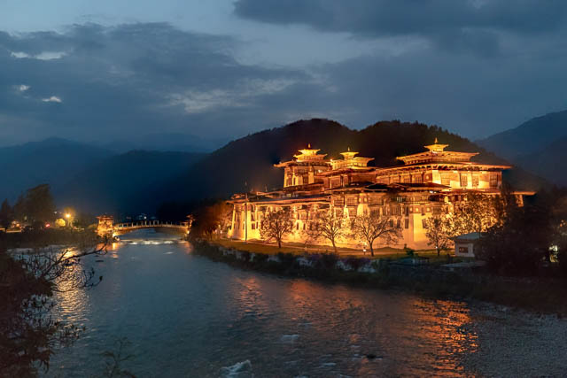 punakha dzong glows in its light at night