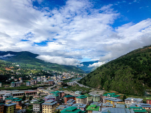 buildings of thimpu city viewed from top