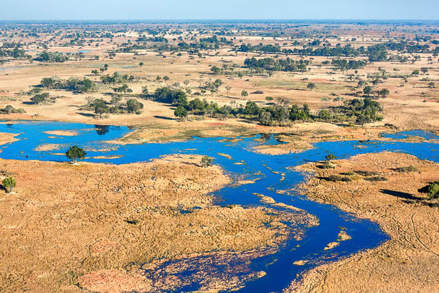 okavango delta landscape viewed from top